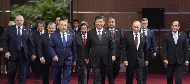 4월 중국 베이징에서 열린 일대일로 포럼에 참석한 국가 정상들. [신화=뉴시스]