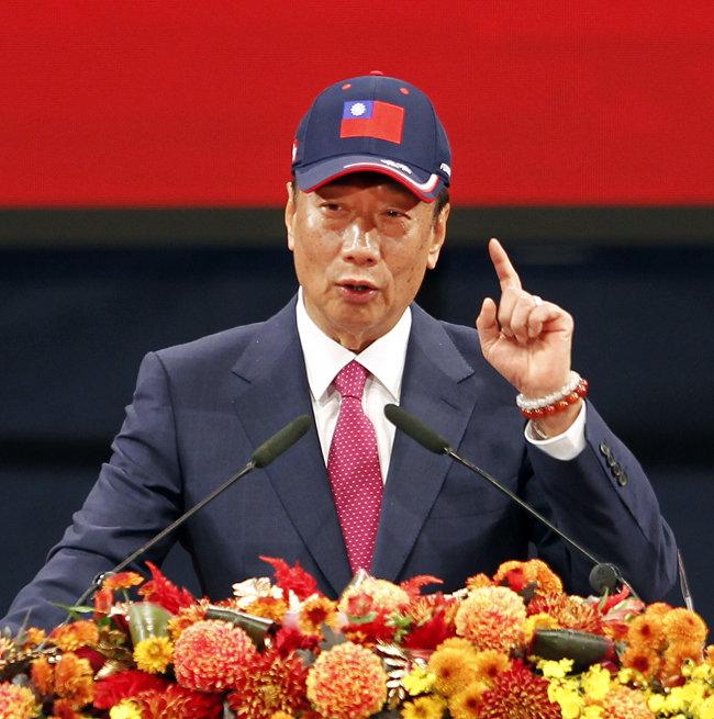 2월 2일 타이베이에서 열린 한 행사에서 연설하고 있는 궈타이밍 회장. [AP=뉴시스]