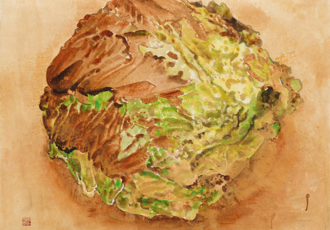 배추 Chinese cabbage 한지 위에 흙, 유화물감, 먹 ink, oil color, and soil on paper 82x63cm 2018