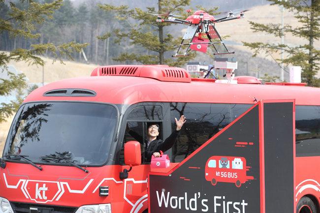 2017년 평창동계올림픽 기간 중에 운영된 5G 자율주행버스와 드론 택배.