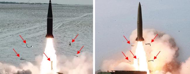 이스칸데르 미사일(왼쪽)과 북한 신형 탄도미사일의 발사 형상 및 밴드 분리 모습.