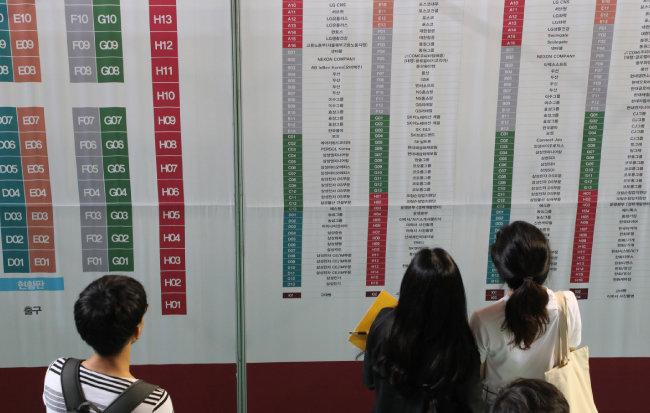 2018년 9월 4일 채용박람회가 열린 서울 안암동 고려대학교 화정체육관에서 학생들이 게시판을 보고 있다. [동아DB]