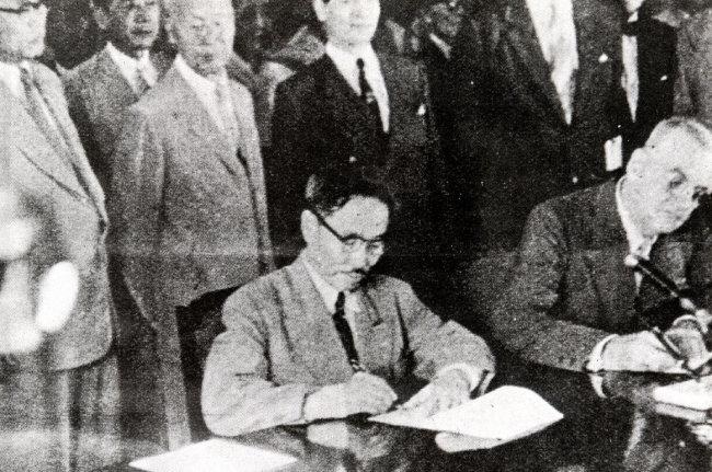 1953년 10월 1일 서울에서 열린 한미상호방위조약 조인식. [동아DB]
