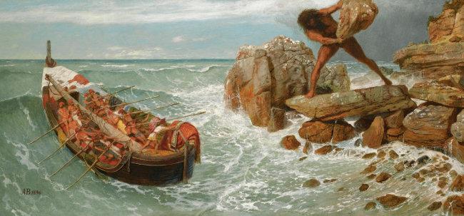 아르놀트 뵈클린의 '오디세우스와 폴리페무스'(1896, 왼쪽)와 존 플랙스먼의 '폴리페무스에게 와인을 따라주는 오디세우스'(1805). [보스톤미술관 소장]