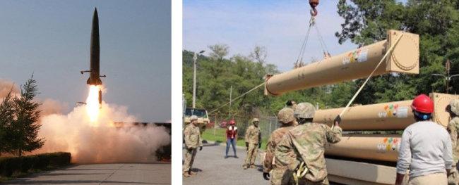 5월 9일 발사된 북한판 이스칸데르 미사일 (왼쪽), 미 육군이 경북 성주에 배치된 사드의 미사일 발사관을 발사대에 장착하는 훈련을 하고 있다. 2018년 12월 28일 미 육군 홈페이지에 공개됐다. [동아DB]