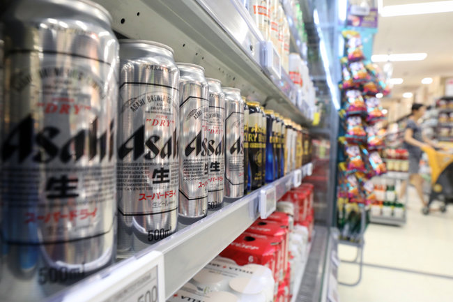 7월 29일 서울 한 대형마트에 일본 맥주가 진열돼 있다. [뉴스1]