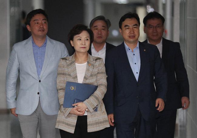 김현미 국토교통부 장관(왼쪽 두번째)과 윤관석 등 민주당 의원들이 8월 12일 서울 여의도 국회 의원회관에서 열린 민간택지 분양가 상한제 당정협의에 참석하고 있다. [뉴시스]
