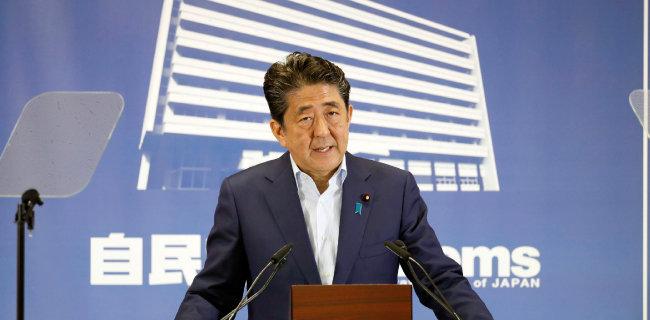아베 신조 일본 총리는 4연임에 도전하고 있다. [AP=뉴시스]