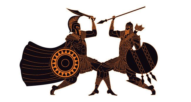 페르시아인과 싸우는 스파르타인(왼쪽). [셔터스톡]