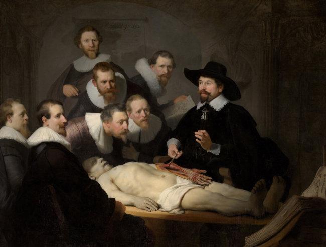 렘브란트, 니콜라스 툴프 박사의 해부학 강의, 1632 [마우리츠하이스 왕립미술관 소장]