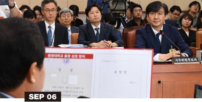 조국 후보자가 9월 6일 여의도 국회에서 열린 인사청문회에 참석해 주광덕 의원으로부터 동양대 총장 표창장 관련 질의를 받고 있다.