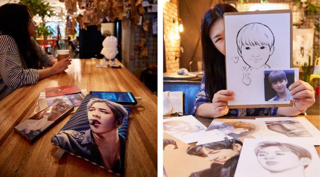 부산에서 다니엘 포레스트를 찾아온 팬과 그의 애장품(왼쪽). 강다니엘의 정밀 초상화 작품으로 유명한 @artist_daniel_sketch 작가와 작품.