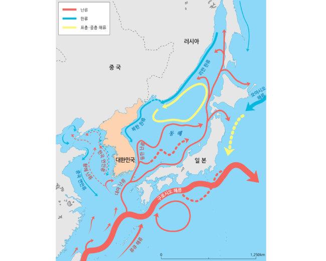우리나라 주변 해역 해류 흐름. [국립해양조사원 제공]
