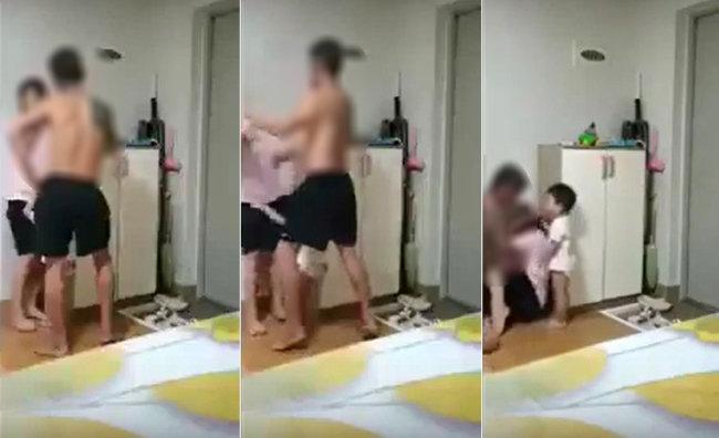 한국인 남편이 자녀 앞에서 베트남인 아내를 무차별 폭행하는 장면이 찍힌 동영상. 7월 초 사회관계망서비스(SNS)를 통해 유포돼 화제가 됐다. [SNS 캡처]