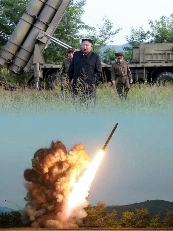 9월 10일 김정은 북한 국무위원장이 초대형방사포시험사격을 지도했다고 노동신문이 보도했다. [조선중앙TV 캡처, 노동신문]