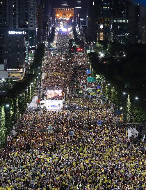 9월 28일 서울 서초구 서초동에서 열린 검찰 개혁 촉구 집회. [뉴스1]