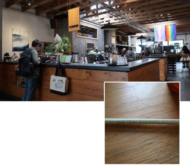 미국 샌프란시스코 포배럴커피 매장(왼쪽). 샌프란시스코 홀푸즈마켓 매장에서 제공하는 일회용 빨대. 빨대 포장 겉면에 친환경 원료로 만든 빨대여서 분해된다는 내용이 쓰여 있다.