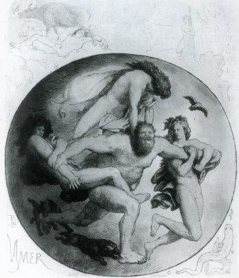 오딘 삼형제에 의해 살해당하는 이미르, 로렌즈 프뢰리쉬, 1820~1908.