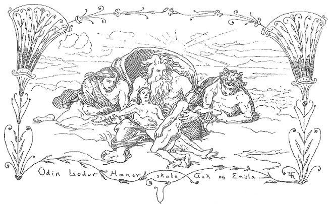 아스크와 엠블라를 창조하는 회니르, 오딘, 로두르, 1895.