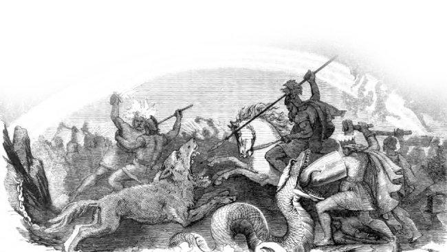 프리드리히 빌헬름 하이네, '파멸할 운명의 신들의 싸움' (라그나로크 신화 중 한 장면), 1882.