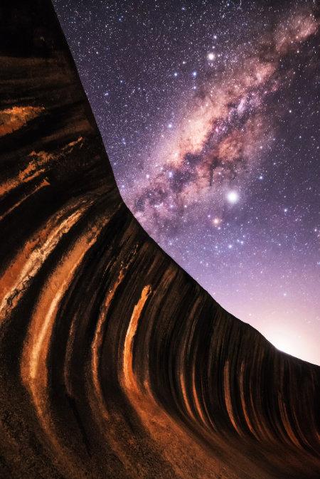 호주 서부 웨이브록에서 촬영한 은하수.
