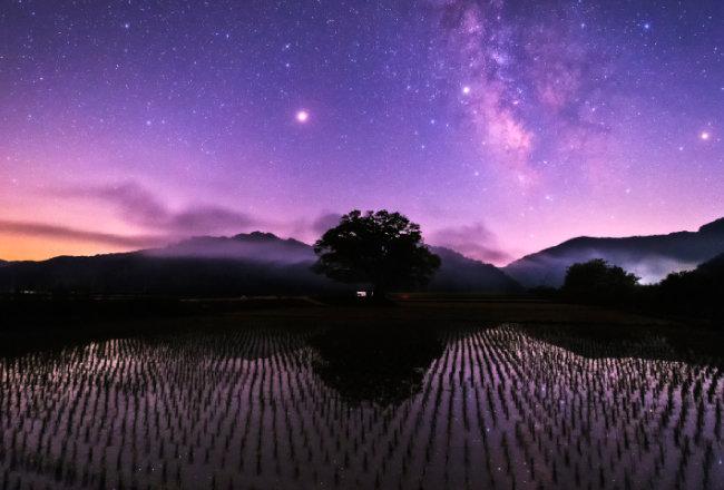 충북 보은군 원정리에서 촬영한 은하수.