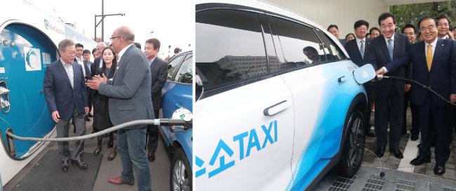문재인 대통령(왼쪽)이 2018년 10월 14일(현지시간) 프랑스 파리 시내 알마광장에 있는 수소충전소에서 현대자동차가 수출한 투산 수소전기차 택시의 충전 시연을 지켜봤다(왼쪽). 문희상 국회의장(오른쪽)과 이낙연 국무총리가 9월 10일 서울 여의도 국회에서 열린 국회 수소충전소 준공식에서 기념 세리머니를 하고 있다.