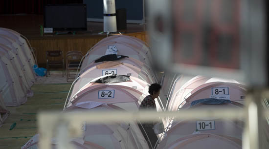 흥해실내체육관에 설치된 이재민용 텐트들. [지호영 기자]
