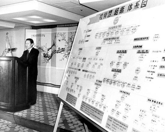 공안당국이 1992년 5월 15일 사노맹 사건 수사 결과를 발표하고 있다. [동아DB]