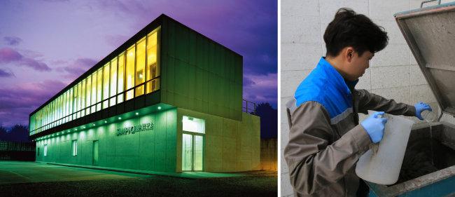 삼표의 건설소재 기술연구소. 연구원이 특수 콘크리트 개발 실험을 하고 있다. [삼표 제공]