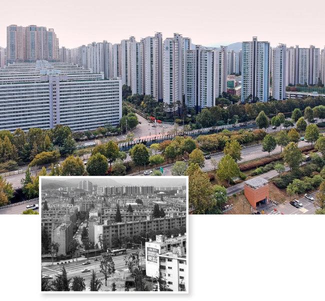 서울 송파구 잠실주공2단지는 잠실 리센츠로 재건축됐다. 2001년 재건축을 앞두었을 때의 잠실주공2단지.