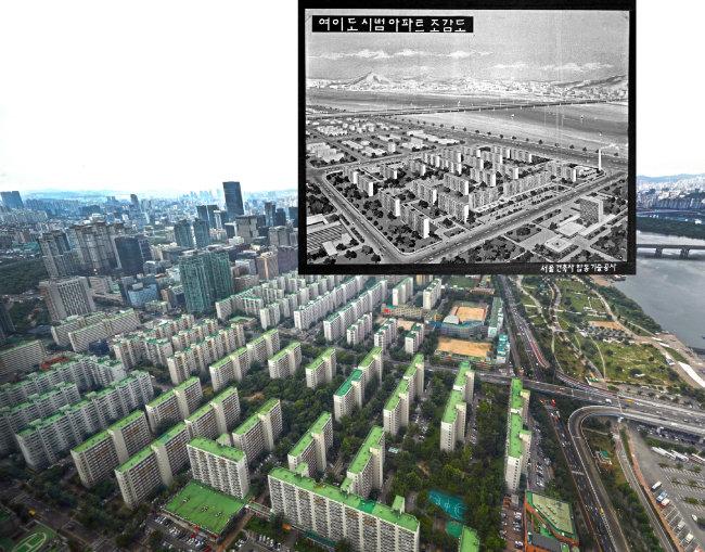1970년 서울 영등포구 여의도동 시범아파트 조감도. 재건축을 앞둔 여의도 시범아파트의 2019년 11월 모습.