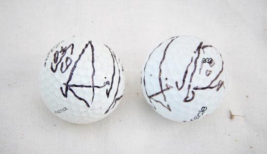 골프선수 박세리가 1998년 US 여자오픈에서 우승한 뒤 이인세 씨와 인터뷰하며 선물한 사인볼.