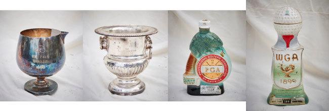 왼쪽부터 1975년 Old Pals 우승 트로피, 1967년 Club Championship Class B 2등 트로피, 1971년 53회 PGA 챔피언십 기념품, 1971년 웨스턴 오픈 챔피언십 기념품.