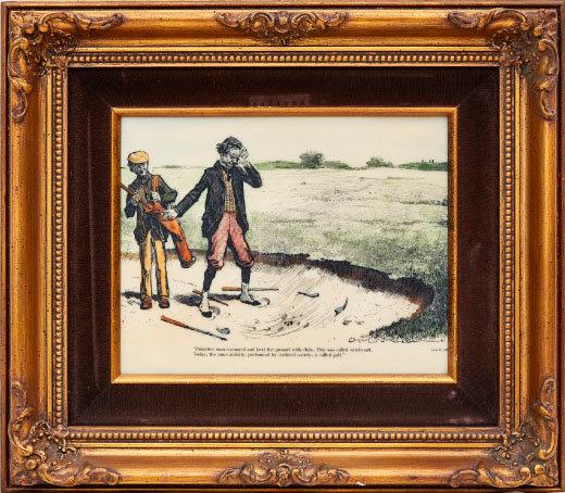 1890년대 골프하는 모습 그림. 상아 재질 캔버스에 그렸다.