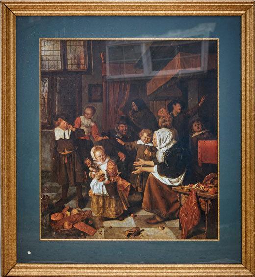 16세기 네덜란드 집 내부를 보여주는 그림. 실내에 골프채와 골프공이 있다. 유럽 사람들이 일찍부터 골프를 즐겼음을 알 수 있다.