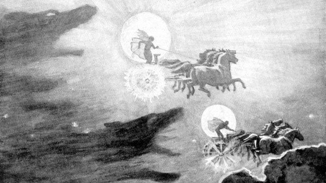 솔과 마니를 뒤쫓는 늑대들, 존 찰스 돌만, 1909.