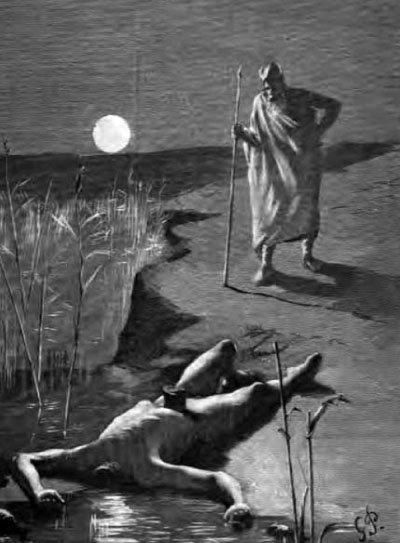 머리가 잘린 미미르를 바라보고 있는 오딘, 게오르그 파울리, 1893.
