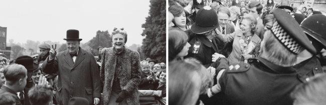 윈스턴 처칠(왼쪽 사진 모자 쓴 사람)은 노동당이 편 복지제도 등을 유지했으나 1979년 집권한 마거릿 대처(오른쪽 사진 가운데)는 정부의 개입을 최소화했다. [뉴시스, GettyImage]