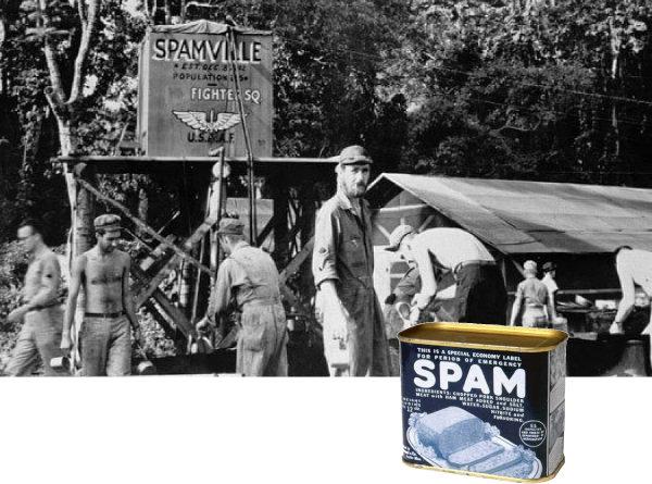 제2차 세계대전 때 미군부대 '캠프 스팸빌'(위)과 당시의 스팸. [Hormel Foods Corporation]