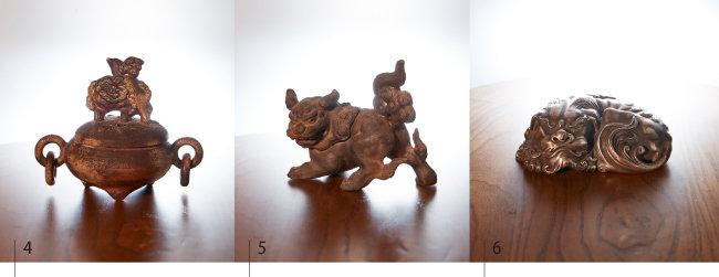 4 유약을 전혀 바르지 않고 구워낸 도자사자상삼족향로. 5 해치의 모습을 섬세하게 조각해 만든 해태향로. 6 은 1.24kg을 사용해 1852년에 제작된 은사자 향로. .