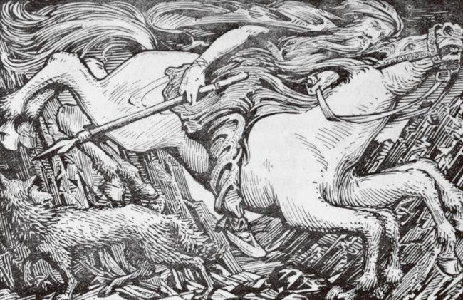 슬레이프니르를 타고 지하 세계로 내려가는 오딘. [W.G.Collingwood, 1908]