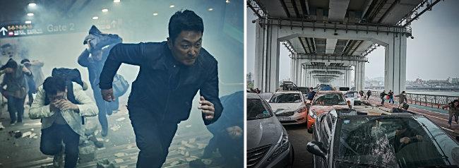 백두산 폭발 영향으로 서울에서 지진이 나는 상황을 묘사한 영화 백두산 스틸컷.