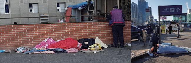 서울 곳곳 거리에서 잠을 자고 있는 노숙인들(사진 속 인물과 기사에 등장하는 노숙인이 동일 인물은 아님). [최진렬 인턴기자]