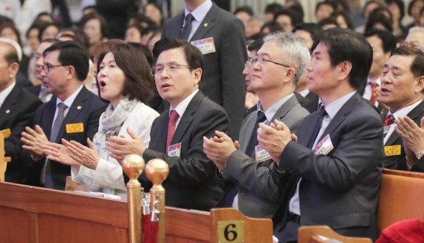 황교안 자유한국당 대표가 2019년 4월 21일 서울 여의도 순복음교회에서 열린 2019 한국교회부활절연합예배에 참석했다. [원대연 동아일보 기자]