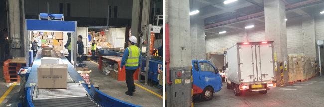 끝없이 화물을 쏟아내는 컨베이어 벨트(왼쪽)와 바쁘게 배송지로 출발하는 트럭들. [이현준 인턴기자]