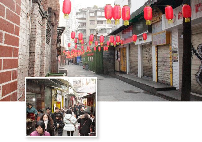 코로나19가 유행하기 전 붐비던 거리(작은 사진)가 지금은 텅 비었다.