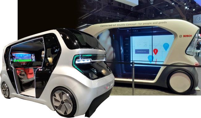 LG전자의 셔틀형 차량(왼쪽), 보쉬의 IoT 셔틀. [유성민]