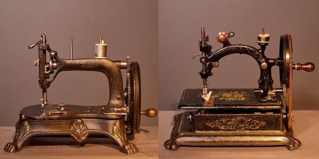 제조사 미상의 미국 1880년대 재봉틀(왼쪽). 프랑스 위르튀사(Hurtu)가 1875년 제작한 재봉틀.