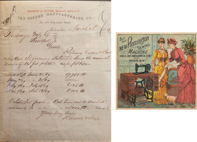 1860년대 미국 싱어사(Singer) 재봉틀 계약서 양식(왼쪽). 19세기 미국에서 만들어진 레밍턴 재봉틀 광고.